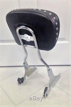 Harley Davidson Softail Heritage Springer Backrest Sissy Bar Stud Pad Detachable