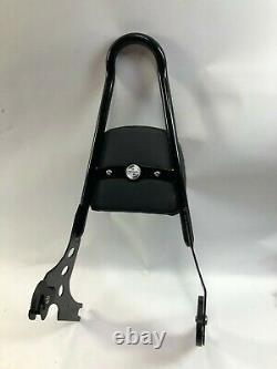 Harley sportster black tall round detachable sissy bar passenger backrest