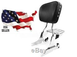 Hd Harley Heritage Softail Back Rest Sissy Bar Luggage Rack Chrome Quick Release