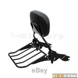 Motorcycle Adjustable Sissy Bar Backrest Luggage Rack For Harley Road King FLHR