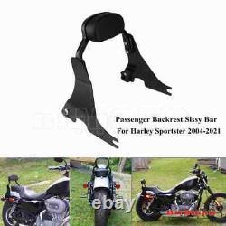 Motorcycle Backrest Sissy Bar For Harley Sportster XL 04-21 Short Passenger Pad