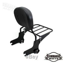 Motorcycle Detachable Backrest Sissy Bar Luggage Rack For Harley Road King 97-08