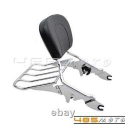 Motorcycle Detachable Backrest Sissy Bar Luggage Rack For Harley Road King FLHR