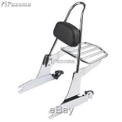 Motorcycle Detachable Sissy Bar Luggage Rack Backrest Pad For Harley Dyna 06-Up