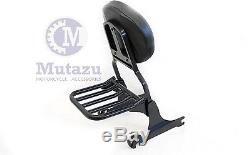 Mutazu Black Detachable Sissy Bar Backrest & Luggage Rack for Harley Softail FLH