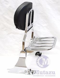 Mutazu Detachable Sissy Bar for 04 UP Harley Sportster Backrest with Rack