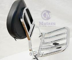 Mutazu Quick Detachable Sissy Bar Backrest & Luggage Rack for Harley Softail FLH