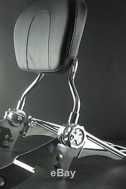 NEW Double Adjustable Detachable Backrest Sissy Bar for Harley Touring 2009 UP