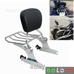 New Detachable Backrest Sissy Bar Luggage Rack For Harley Softail Fatboy 2007-17
