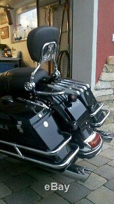 New Stealth Luggage Rack with Backrest sissy bar For Harley Touring 2009-2013