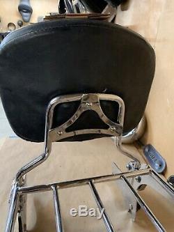 OEM 97-08 Harley V-logo Touring Road King Passenger Sissy Bar Backrest & Rack