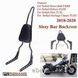Passenger Backrest Pad Black Metal Sissy Bar Cushion For Softail FXBB FLHC FLSL