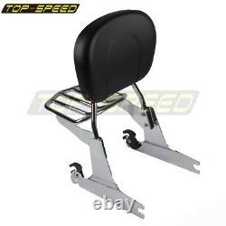 Passenger Backrest Pad Sissy Bar Luggage Rack For Harley Davidson Dyna FXD 02-05