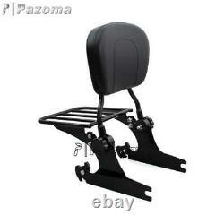 Passenger Backrest Pad Sissy Bar with Luggage Rack For 00-19 Harley Softail FLSTC