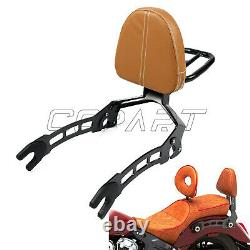 Passenger Backrest Sissy Bar Cushion Brown Pad For Indian Scout Sixty 2015-2019