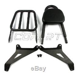 Passenger Backrest Sissy Bar Luggage Rack Cushion Pad Fit Yamaha Stryker XVS1300