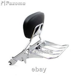 Passenger Backrest Sissy Bar & Luggage Rack For Harley Electra Glide FLHT 09-17