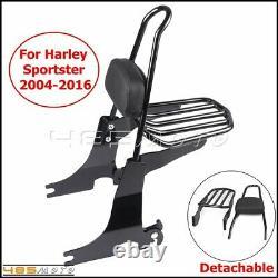 Passenger Backrest Sissy Bar Luggage Rack For Harley Sportster Iron 883 XL1200
