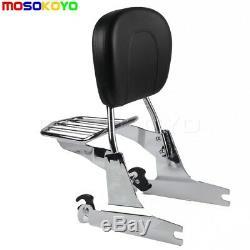Passenger Backrest Sissy Bar Pad Rear Luggage Rack For Harley Dyna FXD 2002-2005