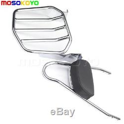 Passenger Backrest Sissy Bar Rear Luggage Rack Kit For Harley Dyna FXD 2002-2005