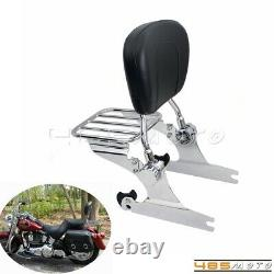 Passenger Backrest Sissy Bar with Luggage Rack For Harley Softail Standard FXST