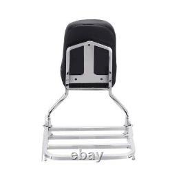 Passenger Chrome Sissy Bar Backrest with Luggage Rack for Yamaha V Star 1300