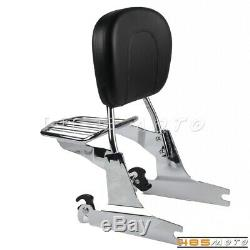 Passenger Sissy Bar Backrest Luggage Rack Holder For Harley Davidson Dyna 2002+