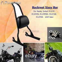 Rear Backrest Sissy Bar with Passenger Pad Kit For Harley Softail FXSTC FXSTB FXST
