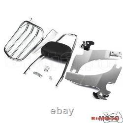 Rear Luggage Rack Backrest Sissy Bar Pad Kit For Harley Sportster 883 1200 94-03