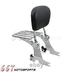 Rear Sissy Bar Backrest Luggage Rack For Harley Sportster XL1200C XL883C Custom