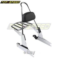 Rear Steel Backrest Sissy Bar with Luggage Rack For 00-05 Harley Softail FLST FXST