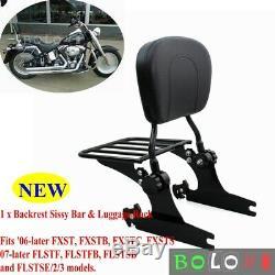 Sissy Bar Backrest Luggage Rack Detachable For Harley Fatboy Softail 2006-2020