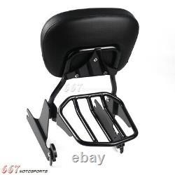 Sissy Bar Backrest Luggage Rack For Harley Dyna FXD FXDL FXDX FXDWG 2002-2005
