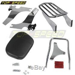 Sissy Bar Backrest Pad Chrome Luggage Rack For Harley Sportster XL883 1200 94-03