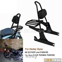 Sissy Bar Passenger Backrest Pad For Harley Dyna Fat Bob FXDF Wide Glide FXDWG