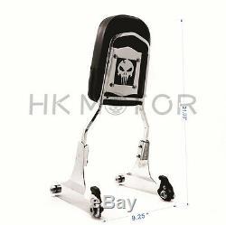 Skull Chrome Detachable Sissy Bar Backrest & Luggage Rack for Harley Softail FLH